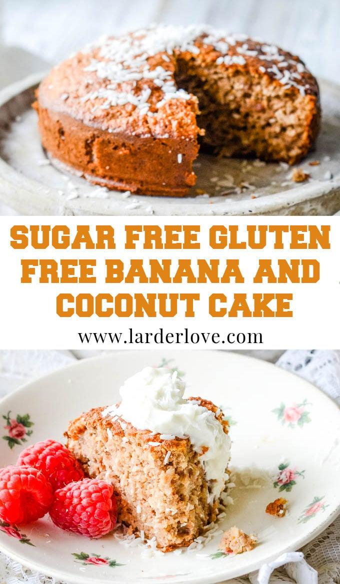 sugar free gluten free banana and coconut cake pin image