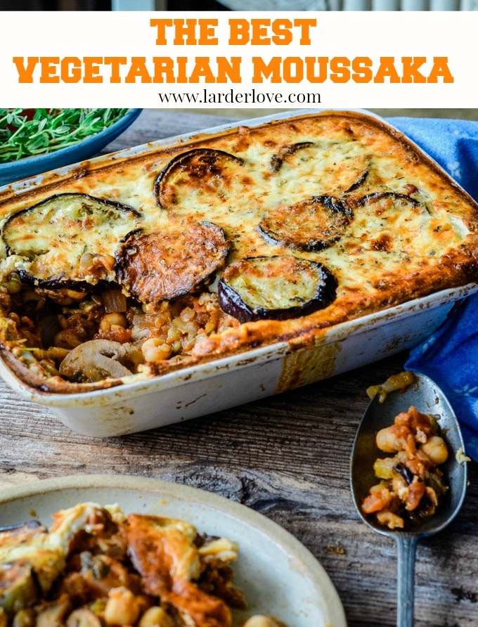 This really is the best and easiest vegetarian moussaka recipe. Packed with all the flavours of Greece and so much lighter than traditional moussaka too. It's a real crowd pleaser every time. By Larder Love