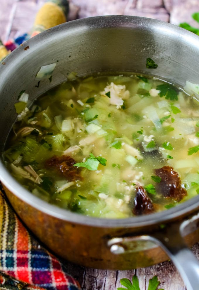 soup in pan with prunes