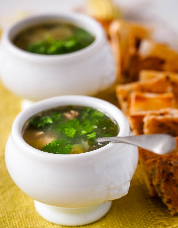 soup in mini bowl for party