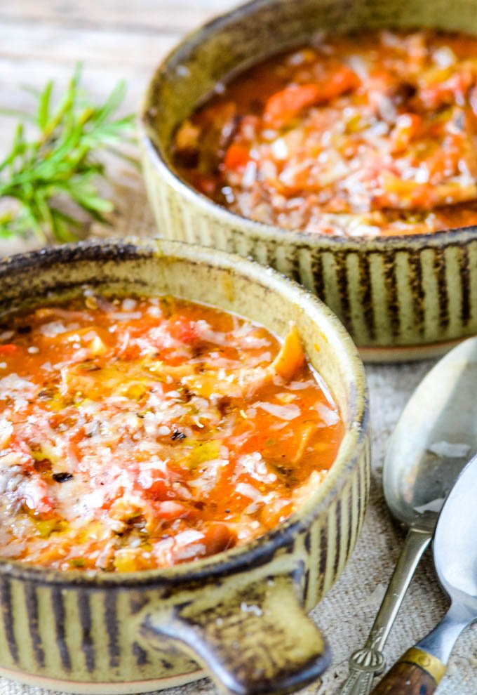 two bowls of Italian inspired mushroom and tomato soup