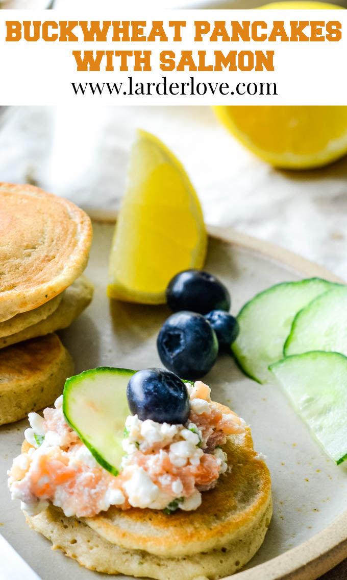 buckwheat pancakes with smoked salmon pin image
