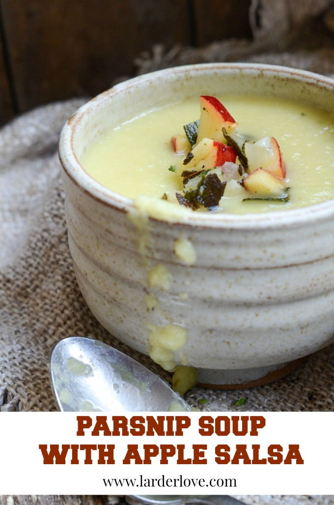 This easy Parsnip Soup with Apple Salsa makes something really basic and simple taste amazing. Perfect for lunch but stunning enough for a supper party too. By larderlove.