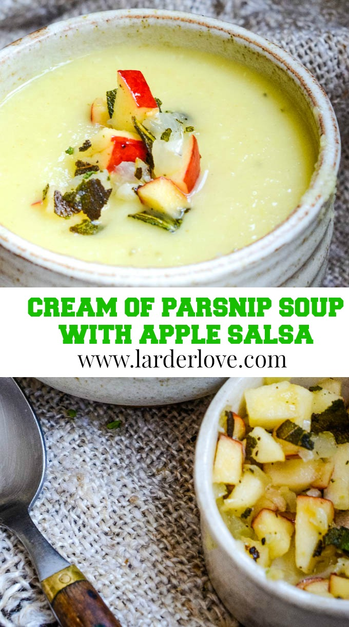 cream of parsnip soup with apple salsa pin image