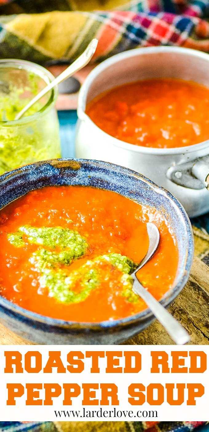 Roasted red pepper soup with pesto is rich and sweet and packed with flavour. pin image