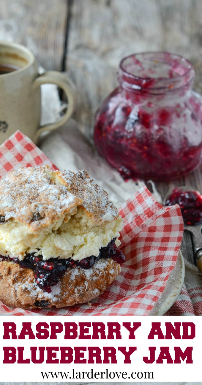 raspberry and blueberry jam by larderlove
