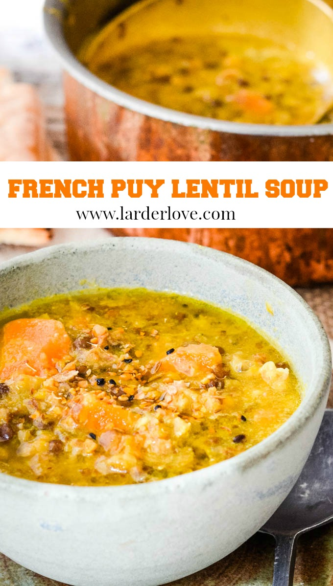 French puy lentil soup pin image