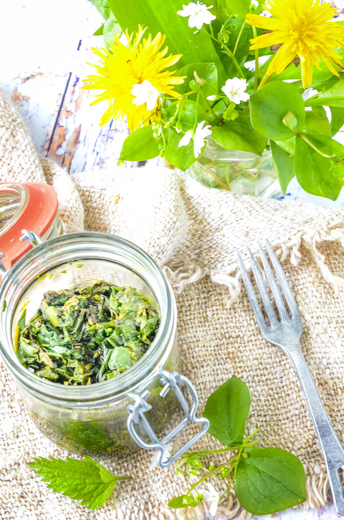 relish in jar with weeds behind