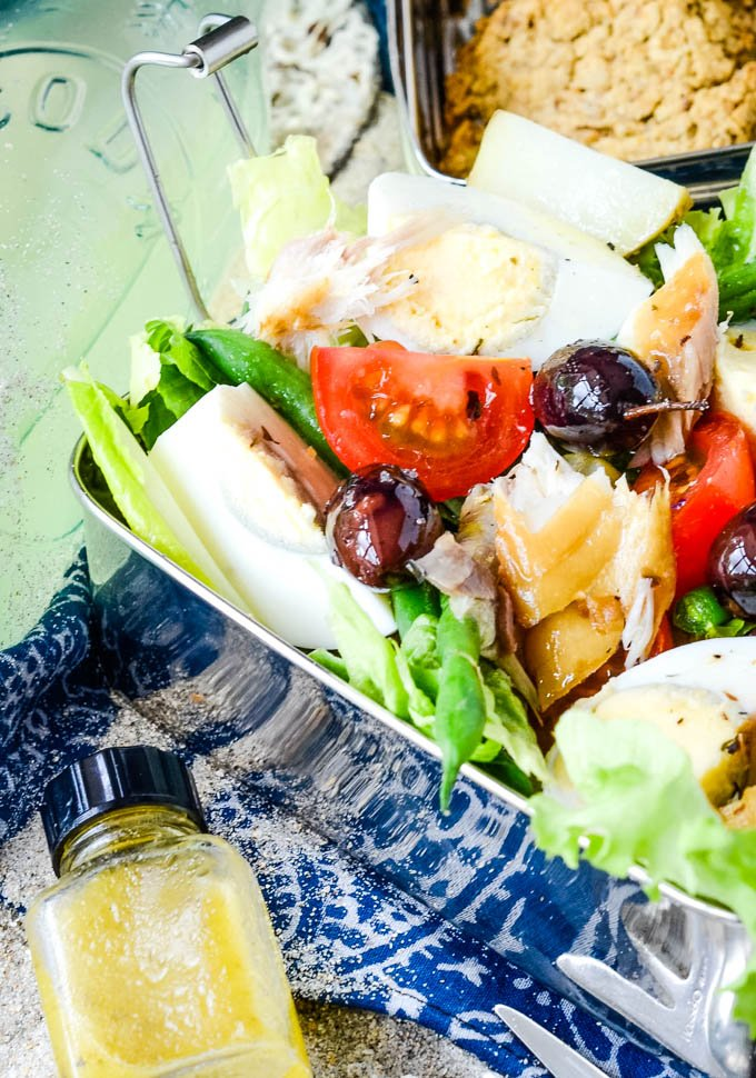 close up of the salad nicoise with smoked mackerel