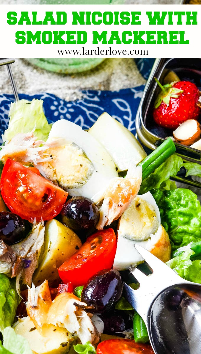 Super healthy salad nicoise with smoked mackerel makes the perfect lunch, picnic or packed lunch on the go.