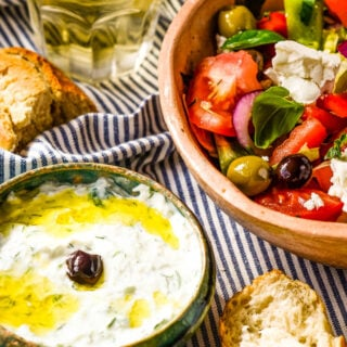 homemade tzatziki and greek salad by larderlove