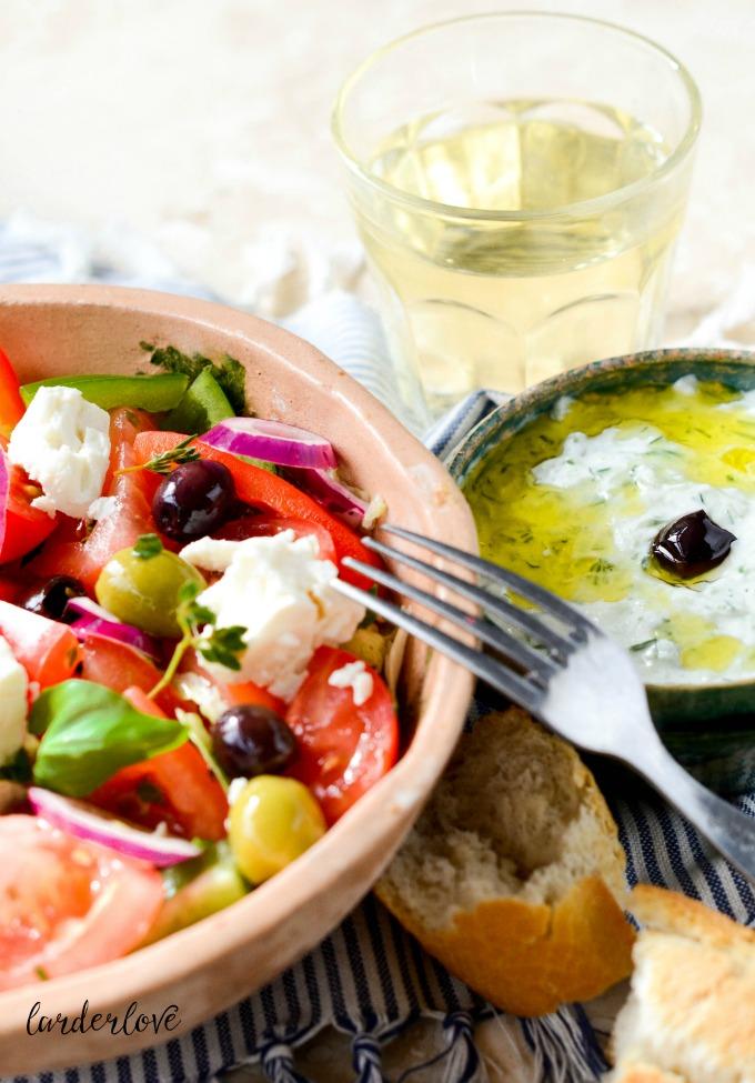 tzatziki and greek salad by larderlove