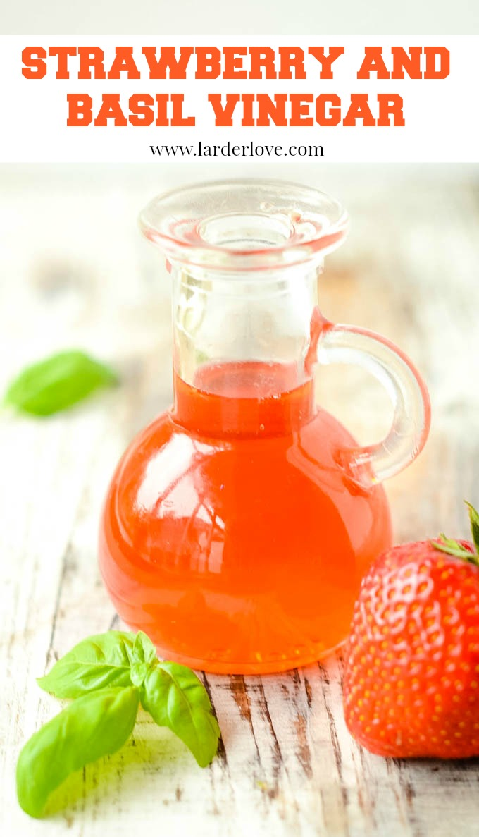 a super easy recipe for strawberry and basil vinegar. The perfect addition to salads and gives you the taste of summer all year long