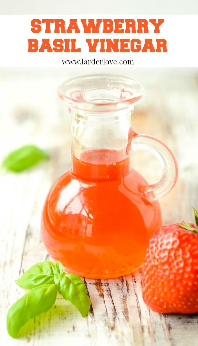 strawberry and basil vinegar pin image