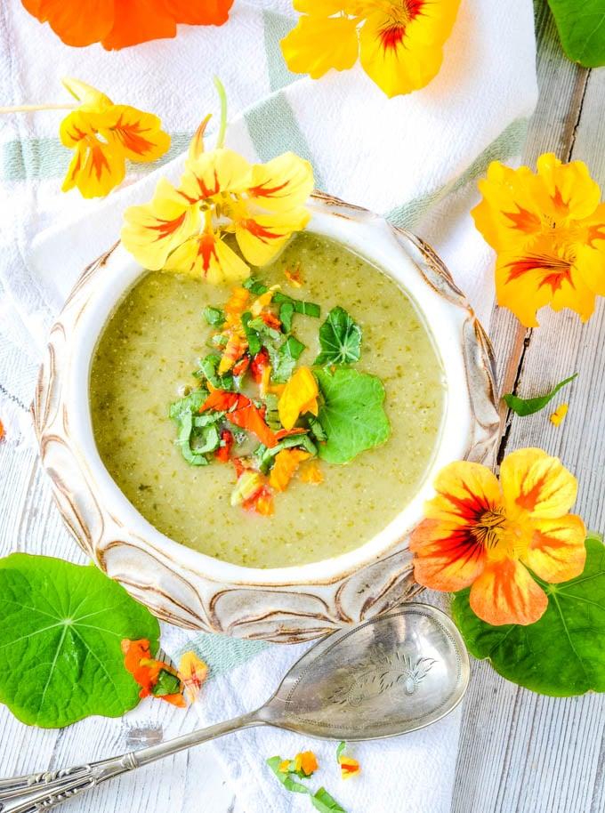 top down shot of nasturtium soup in bowl