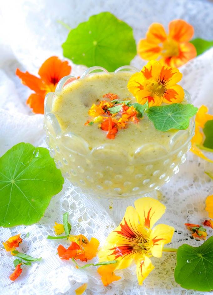 nasturtium soup in a glass