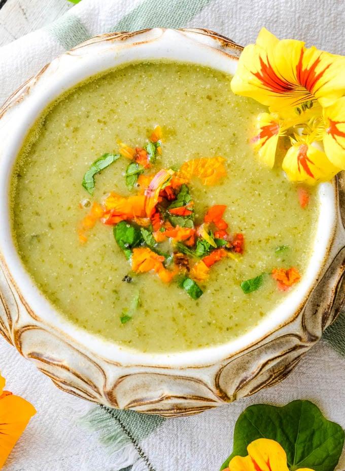 top down shot of bowl of nasturtium soup