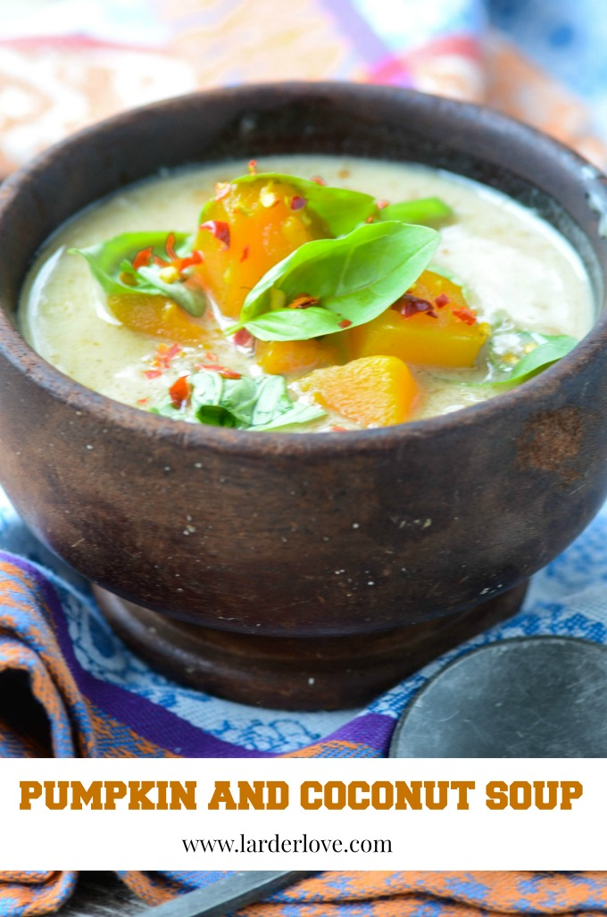 This super easy and tasty pumpkin and coconut soup is a great way to use up all that Halloween pumpkin. It is healthy too, packed with nutrients and spicy too. The perfect comfort food.by larderlove