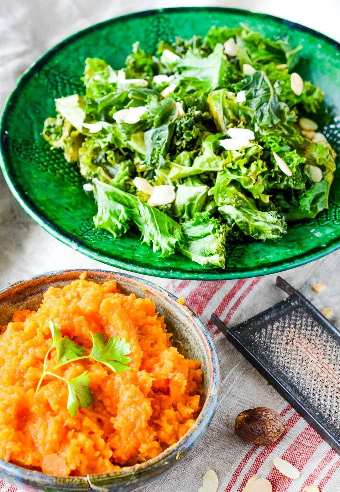 side veg of sweet potato and kale