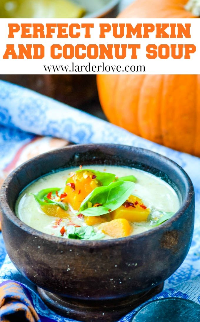 pumpkin and coconut soup pin image