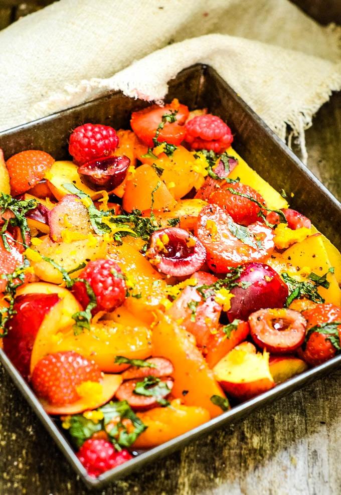 fresh fruit on oven tray
