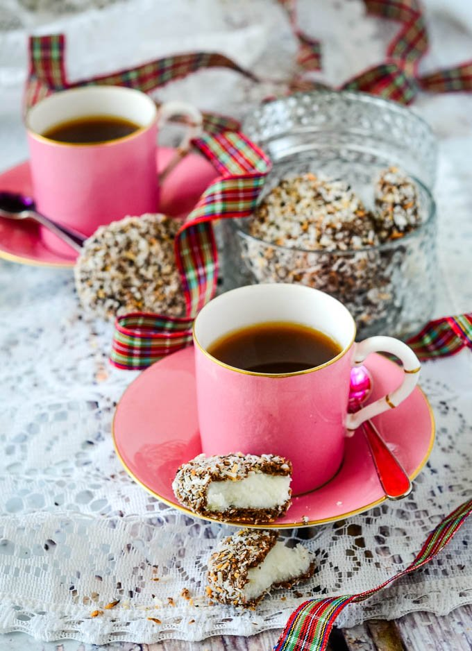 cups of coffee with macaroons