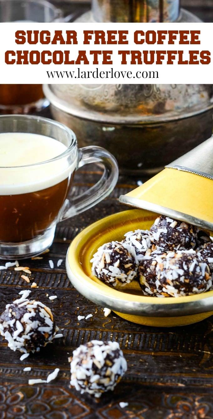 sugar free chocolate mocha truffles pin image