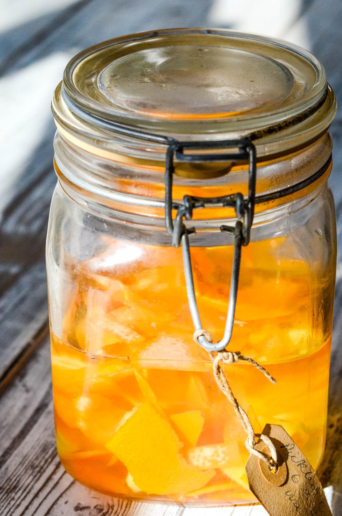 ingredients in jar infusing