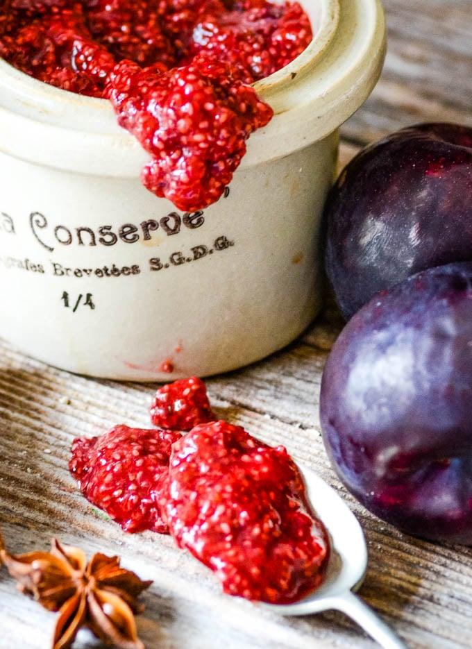 close up of chia plum jam