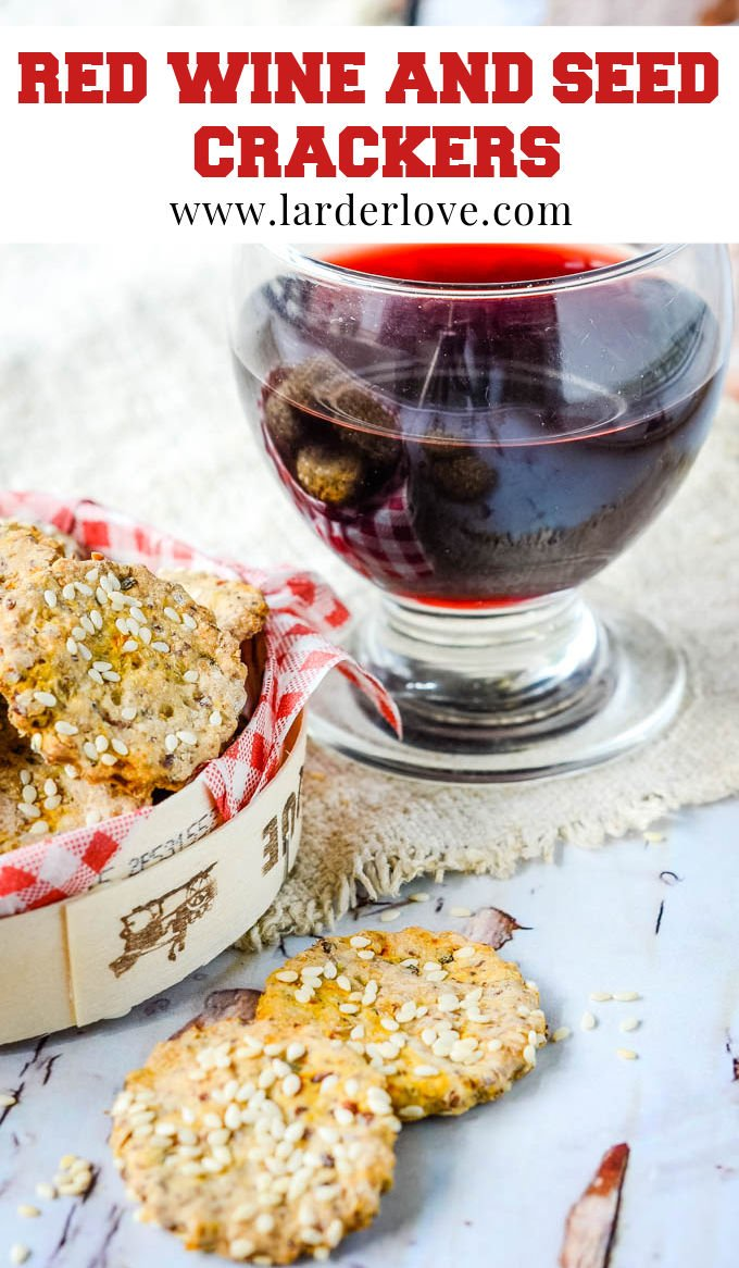 red wine seed crackers pin image