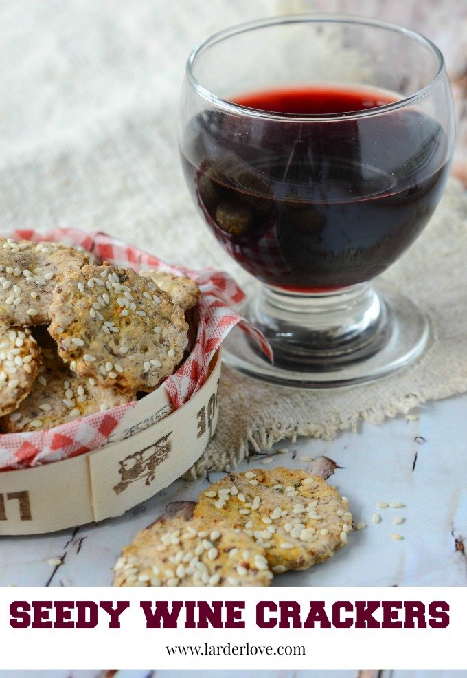 seedy wine crackers are actually made uising wine so they are the perfect partner to a glass of vino and cheese to go with themby larderlove