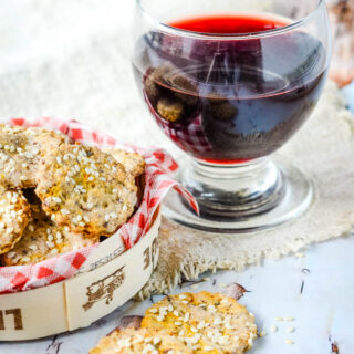 red wine and seed crackers