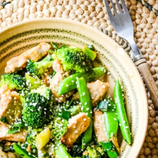 top down shot of pork and broccoli stir fry