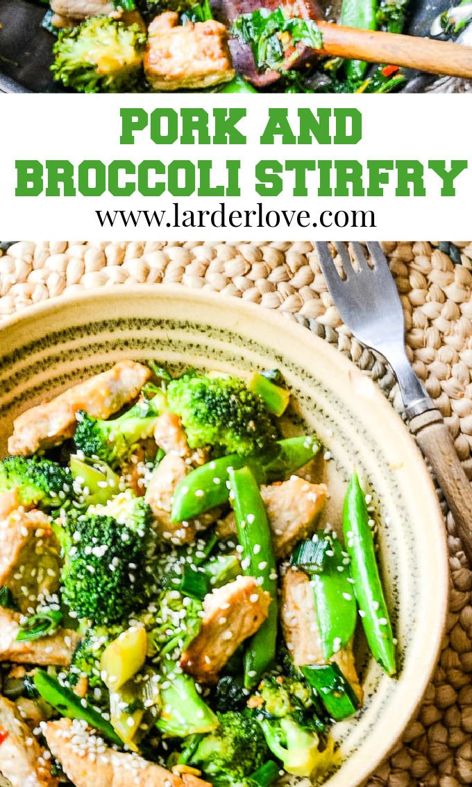 pork and broccoli stir fry pin image