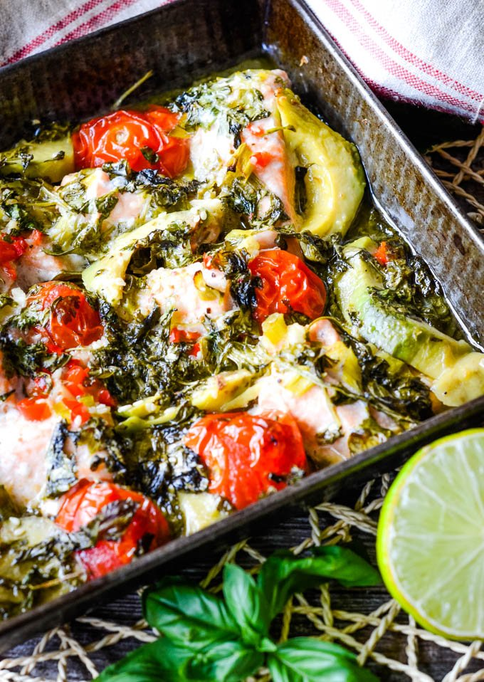 the salmon traybake out of oven