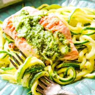 fork with courgetti and salmon behind