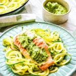 seared salmon with courgetti