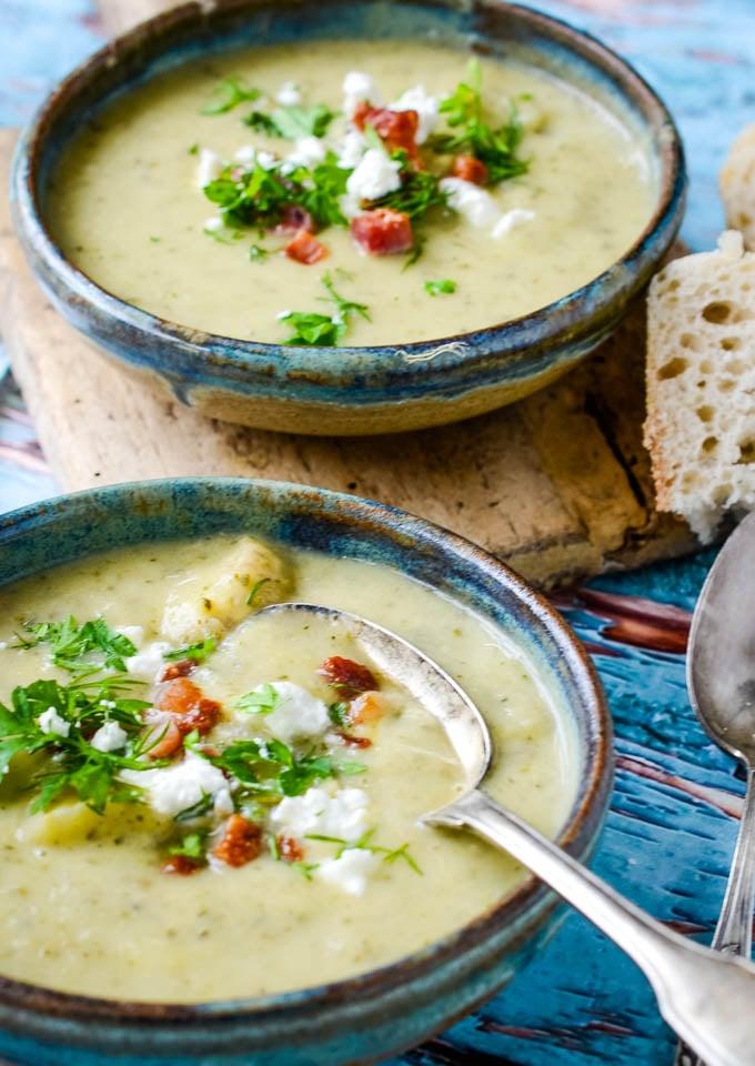 cream of courgette/zucchini soup with feta
