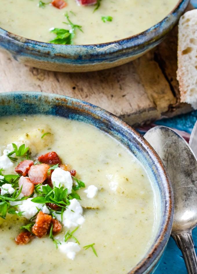 courgette/zucchini and feta soup