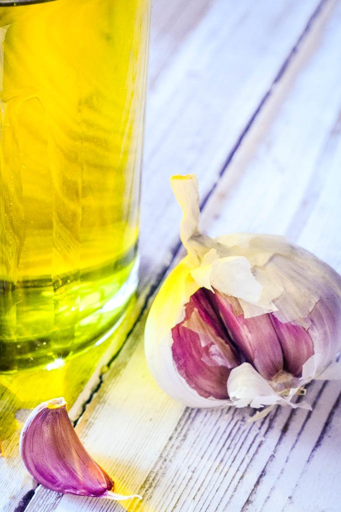 garlic cloves and oil