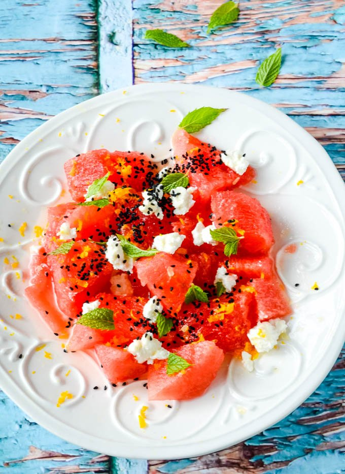Greek watermelon and feta salad plated