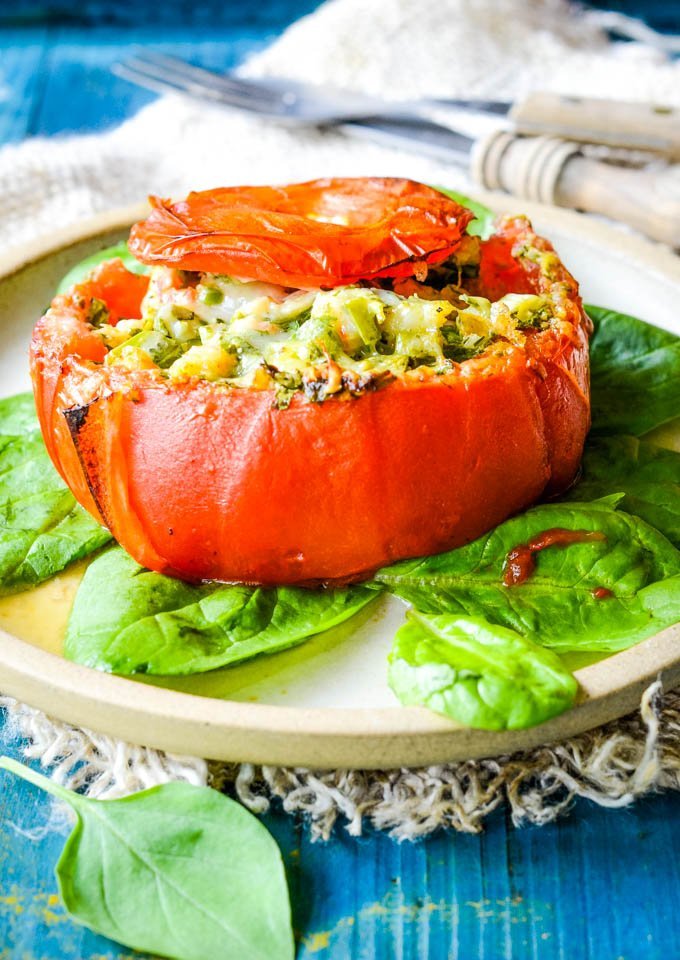 Greek stuffed tomatoes with prawns
