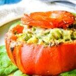 Greek prawn stuffed tomatoes