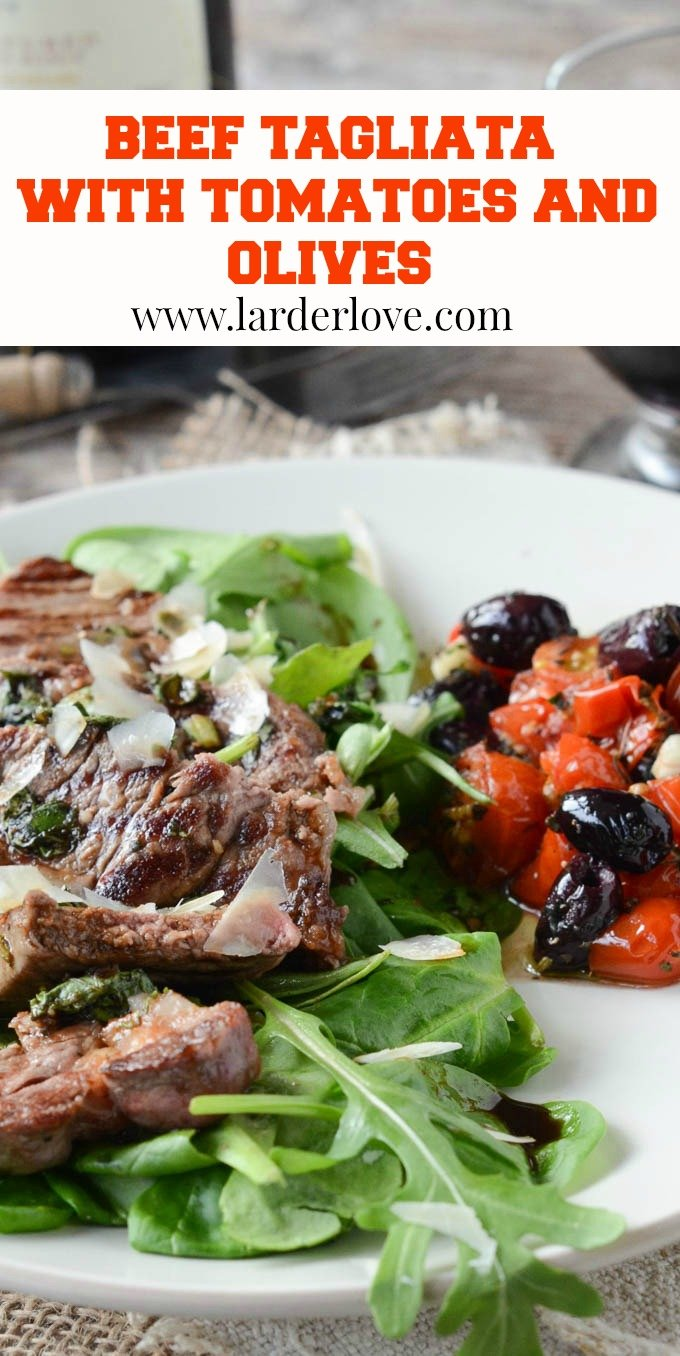 beef tagliata with tomatoes and olives pin image
