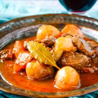 traditional Greek beef stifado stew