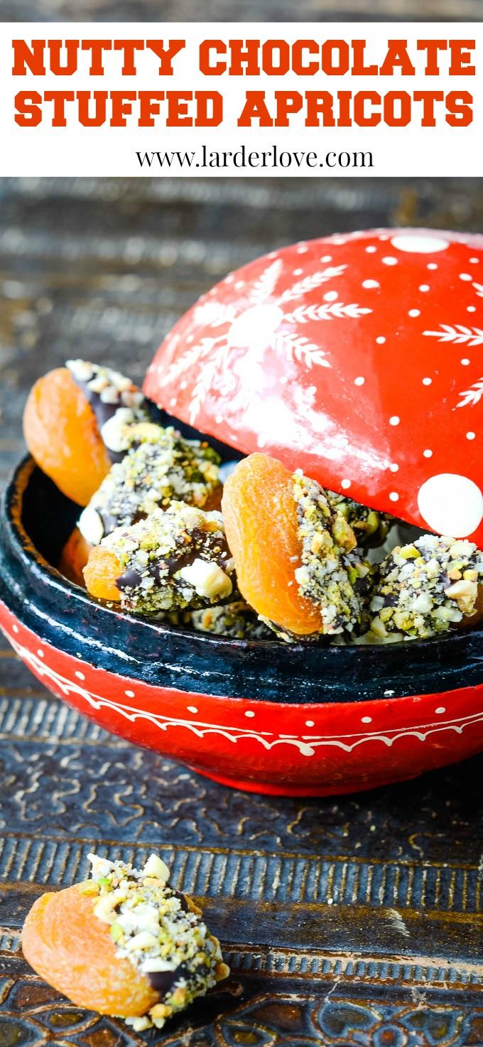 Turkish nutty stuffed apricots pin image