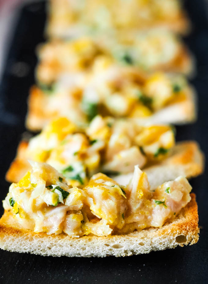 finnan haddie toasts in a row on platter