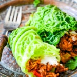 Greek lamb stuffed cabbage leaves