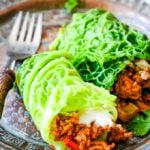 Greek lamb stuffed cabbage leaves