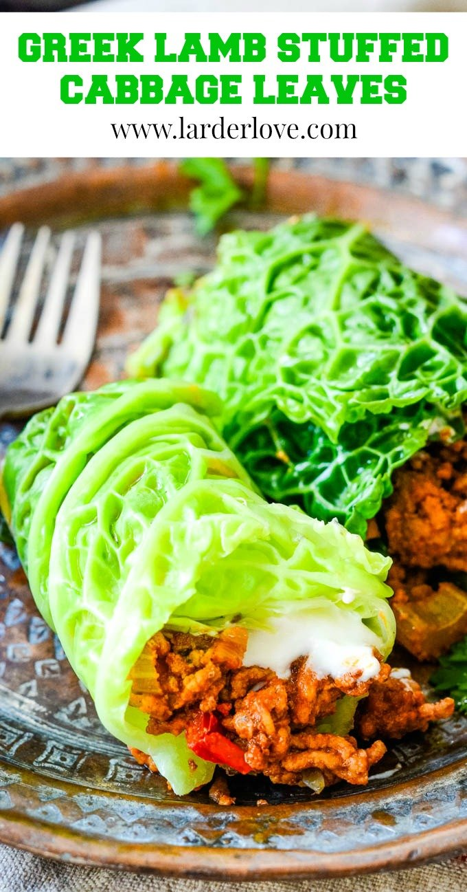These Greek lamb stuffed cabbage leaves are comfort food and healthy Mediterranean diet food all at the same time. Plus they are super tasty and easy to make too. #stuffed cabbage #Greek recipes #stuffed vegetables #larderlove